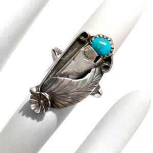 Vintage Sterling Silver Turquoise Squash Ring Sz 7